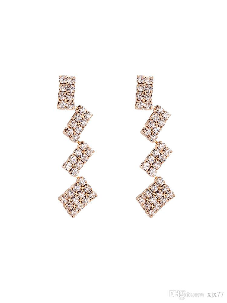 Han Faner's Geometric Block Stitching Ear Nail Female Chic Wind Delicate Baitao Zircon Earrings Eardrop E573