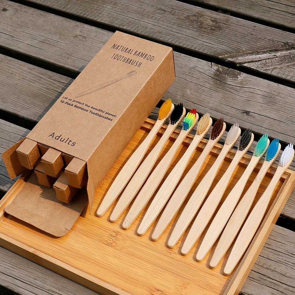 Nouveau mode Bambou Brosse à dents Brosse à dents Environmentally Bambou Brosse à dents souples en nylon Capitellum Brosses à dents en bambou pour Hôtel
