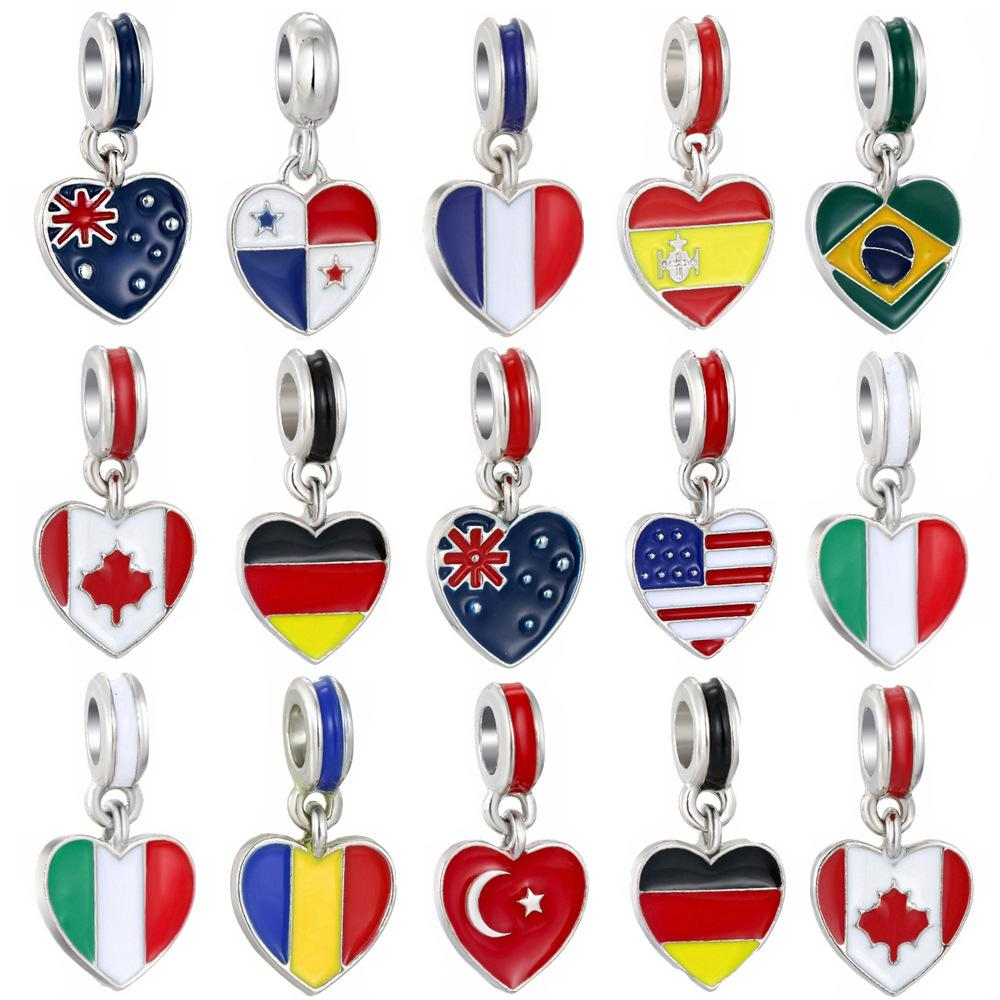 Esmalte Bandeira nacional Big Hole contas United States Itália Canadá solto Spacer pingente de charme Para pulseira colar DIY Jóias tomada