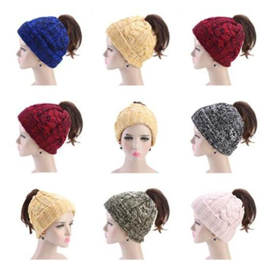 Women Knitted Ponytail Beanies Pure Color Head Top Pull Rope Caps Fashion Thickened Fashion Winter Warm Hat WY271Q