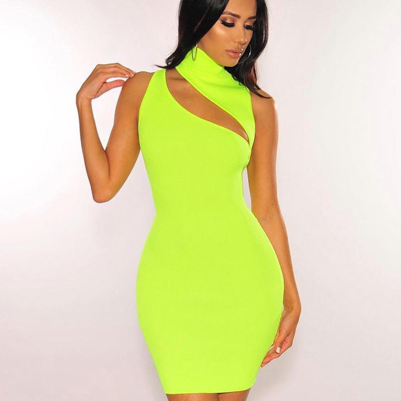 Летнее платье Cut Out Sexy 2019 неоновый зеленый Rib Knit Мини Bodycon платья женский клуб одежды
