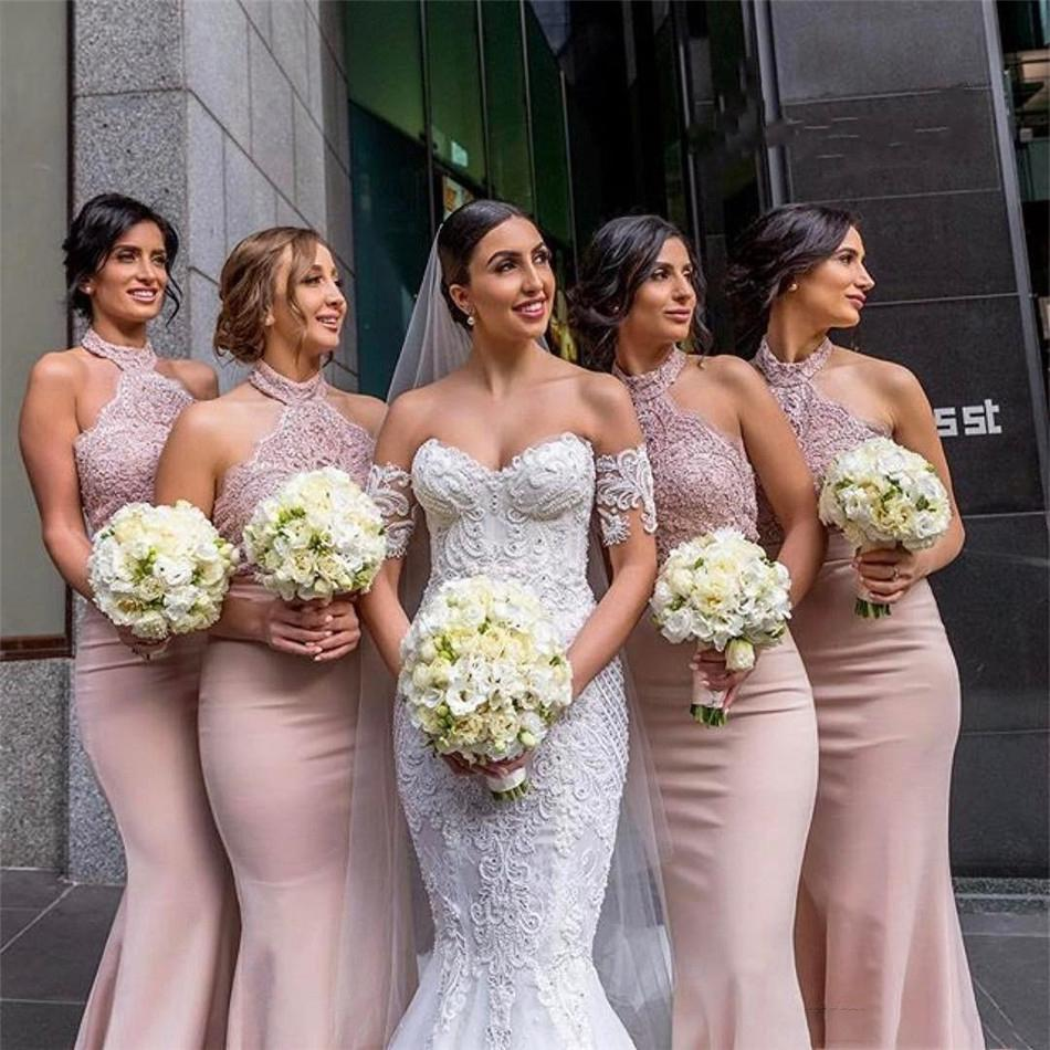 Halter Mermaid Long Bridesmaid Dresses Lace Appliques Natural Waistline Long Honor Of Maid Spring Robe De Guest Party Gowns Formal