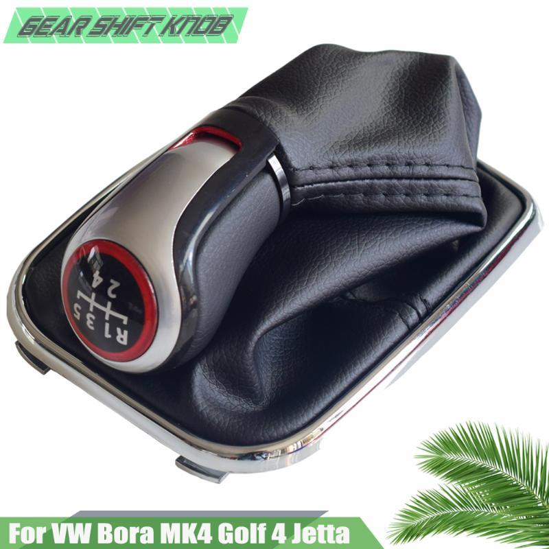 5 Speed Gear Shift Stick handball for VW Bora 4 Golf4 4 1998-2004 With Chrome Frame Leather Gaiter Boot Cover