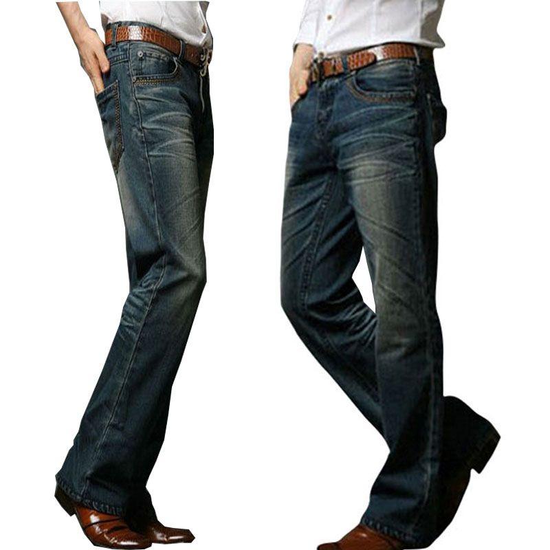 Compre Jeans Para Hombre De Los Pantalones Vaqueros Acampanados Corte De La Bota De La Pierna Acampanada Elastico Slim Fit Mediados De Cintura Masculina De Diseno Clasico Pantalones Vaqueros Del Motorista A