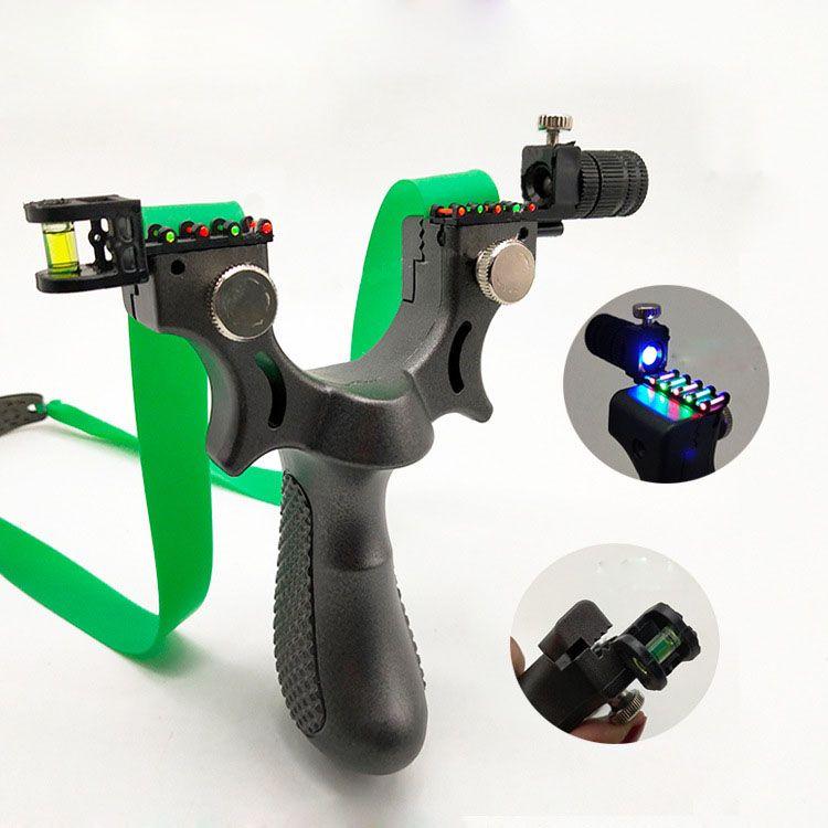 램프는 레벨 미터 플랫 고무 밴드 촬영 포인트를 목표로 양궁 ABS 새총 사냥 투석기 수지 슬링 샷
