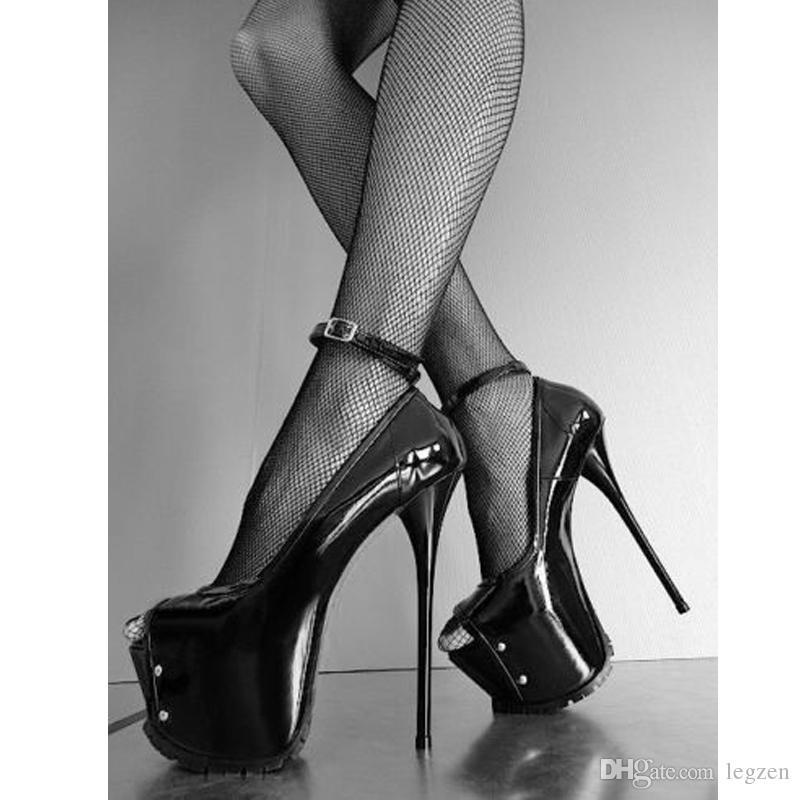 Legzen SEXY Mujer Tacones Bombas Plataforma Brillante Correa del tobillo Peep Toe Tacones altos Bombas Club Zapatos de fiesta para mujer más tamaño 34-52