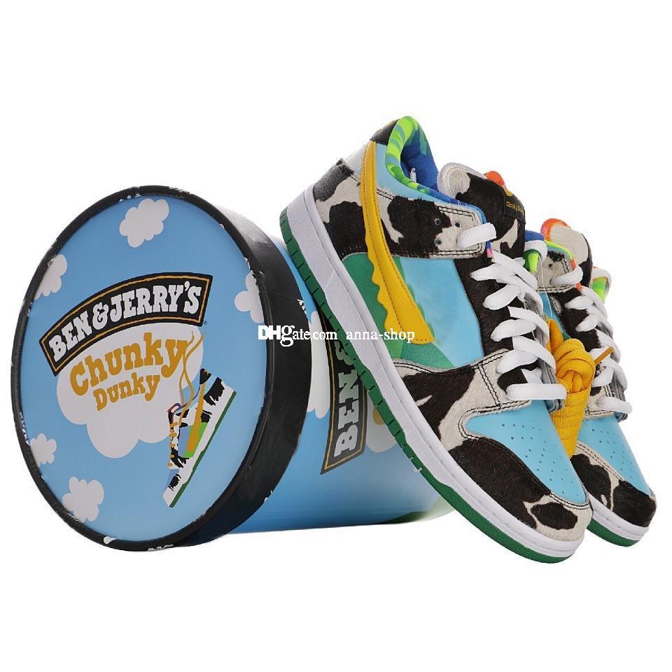 С Ice Cream Box Бен Sneaker для мужчин Молока Кроссовки мужские Коренастый Dunky Skate обувь Джерри женщин коньков Shoe женщин Спорт Спорт