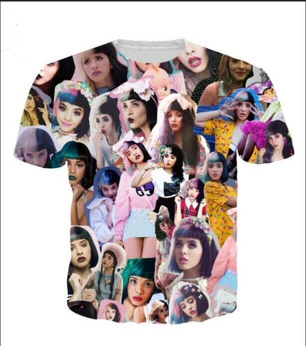 Lüks Erkek Tasarımcı T Shirt Erkekler Kadınlar Hip Hop Tişörtlü Melanie Martinez Tasarımcı Gömlek XK05 yazdır 3D