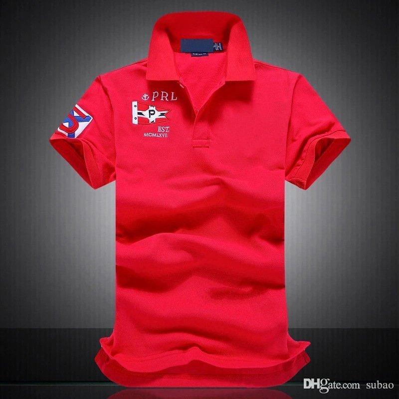 Shirts di alta qualità calda di vendita degli uomini della Mens 2019 Poloshirt Polo solido uomini di lusso polo manica corta