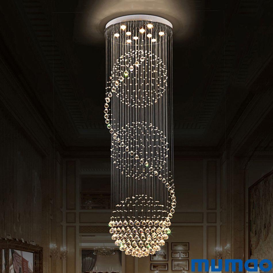 현대 계단 조명 크리스탈 샹들리에 가벼운 럭셔리 램프 나선형 계단 조명 광택 크리스털 샹들리에 천장 펜던트 데코 램프