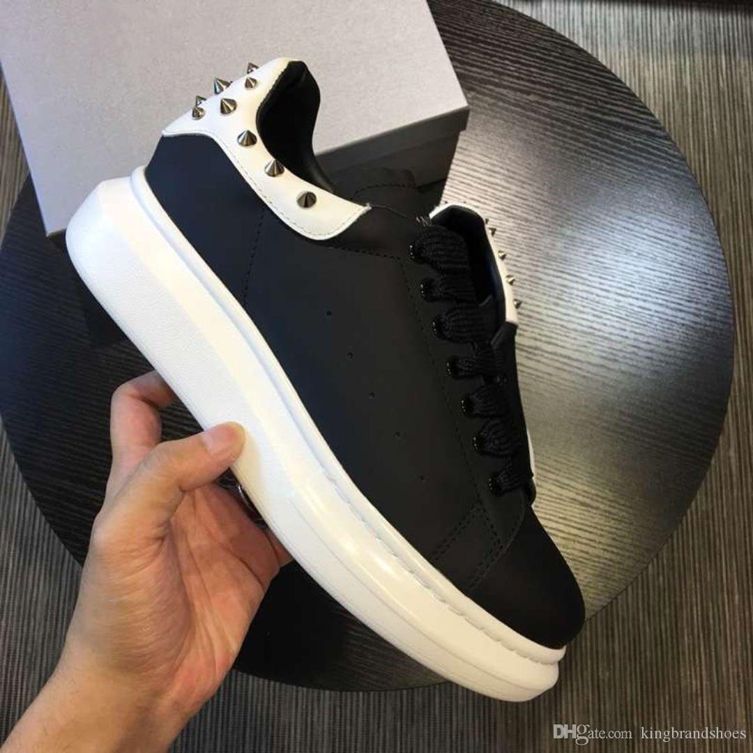 nouvelles chaussures à semelles épaisses de haute qualité augmentent la hauteur des hommes en cuir véritable plate-forme baskets chaussures de sport noir dos blanc avec rivet