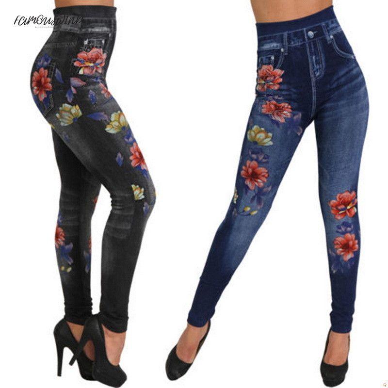 Denim Faux Jeans Leggings Femmes Mode Print Crayon Pantalon Plus La Taille Casual Taille Haute Rose Workout Spandex Spandex Leggings