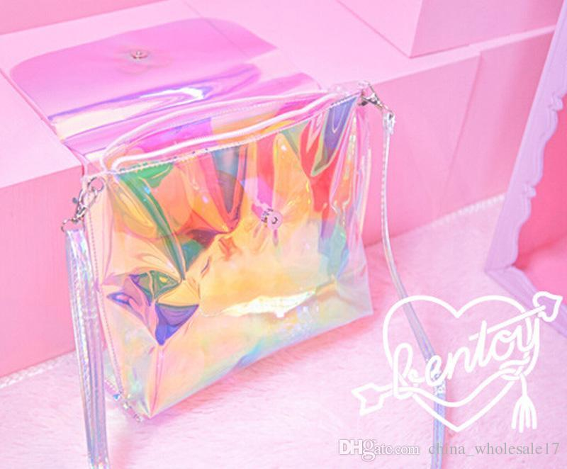 Free Shipping Transparent Teenage Girl Crossbody Shoulder Bag Hologram Shine Leather Holographic Laser Bag sweet candy color bag