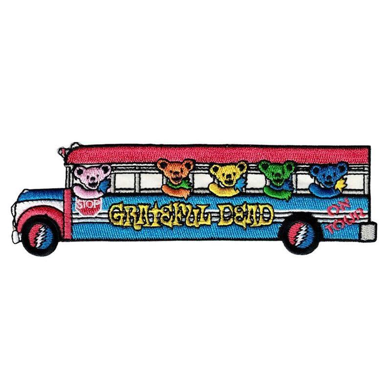Desenhos animados Greatful Bus ferro em patch bordado Roupa Patches para vestuário DIY crianças Adesivos apliques de vestuário por atacado