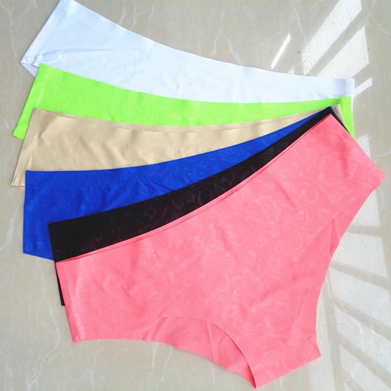 ALICENO 6PCS / LOT Femmes sans couture Slips Taille Plus culottes Traceless -cut Slip taille basse rose Intimate imprimé floral