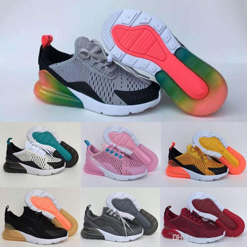 2019 hot Infant Kids Tn Running Shoes Air Cusion Grey White Black Children Sport Shoes Toddler Trainer Rainbow Boy and Girl Tns Sneaker