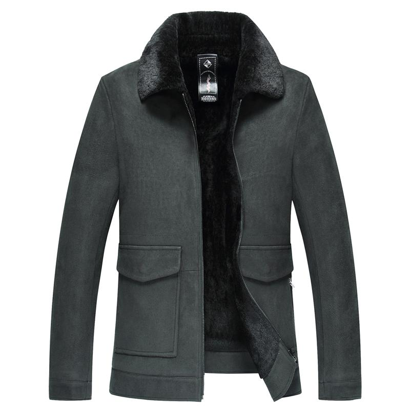 2019 Hiver Homme Nouveau Sheepskin Homme Col chaud Manteau de fourrure Homme Veste Outwear Casual pour les vrais hommes Veste en cuir