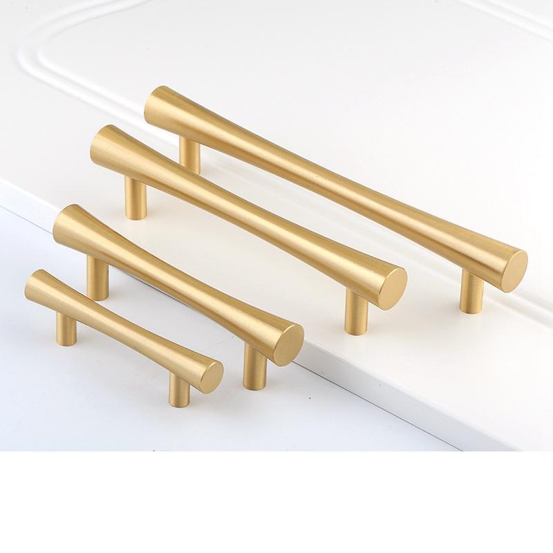 Sólido de latón cepillado Tbar oro manija de la cocina del gabinete manija de la puerta tocador perilla Cuarto de baño Tire Muebles Hardware Hardware precio de fábrica