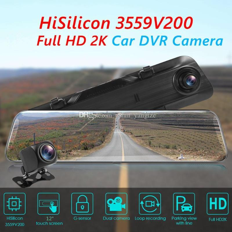 12 inches touch screen stream media car DVR driving video recorder rear view mirror Huawei chip Sony sensor 2K+1080P video 170° + 140° angle