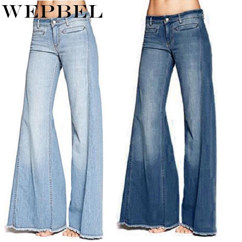 Calças de ganga Weppel Mulheres Jeans Magro Magro estiramento Tassel Bell-fundo Jeans Plus Size cintura alta Street Style Denim Trousers