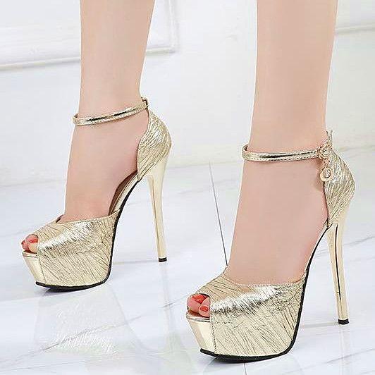 Scarpe Da Sposa 34.Acquista 14cm Eleganti Oro Ultra Tacco Alto Scarpe Da Sposa Sposa