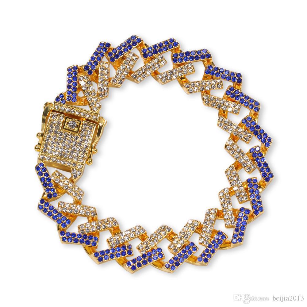 Личность 8 дюймов 15 мм хип-хоп / панк Мужские браслеты Bling ледяной кубический Циркон Майами Снаряженная кубинский звено цепи браслет ювелирные изделия подарки Wholsales