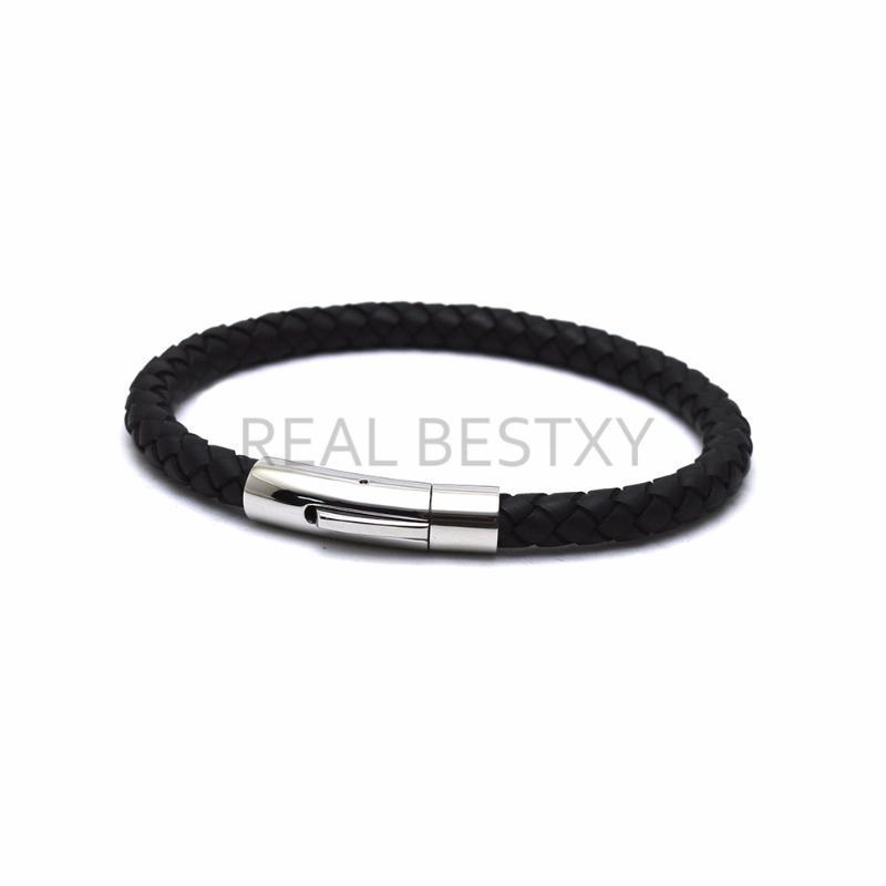 braccialetto regali 5pcs / lot incide il marchio punk uomini monili di cuoio nero opaco treccia d'acciaio inox catenaccio magnetico braccialetti di modo
