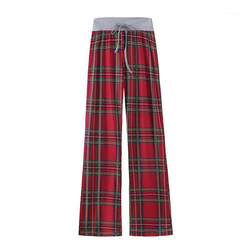 Compre Casuales Elastico De La Cintura De Los Pantalones De Las Senoras Para Mujer Primavera 2020 Relajado Inicio Pantalones Flojos De La Tela Escocesa De Patron Femenino Pierna Ancha Pantalones A 23 59