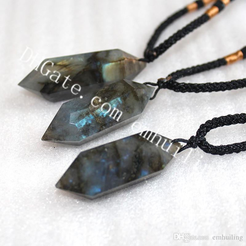 10Pcs Labradorite Rainbow Quartz Wand Necklace Double Pointed Faceted Natural Moonstone Pendant Necklace Handmade Rock Gift for Men Women