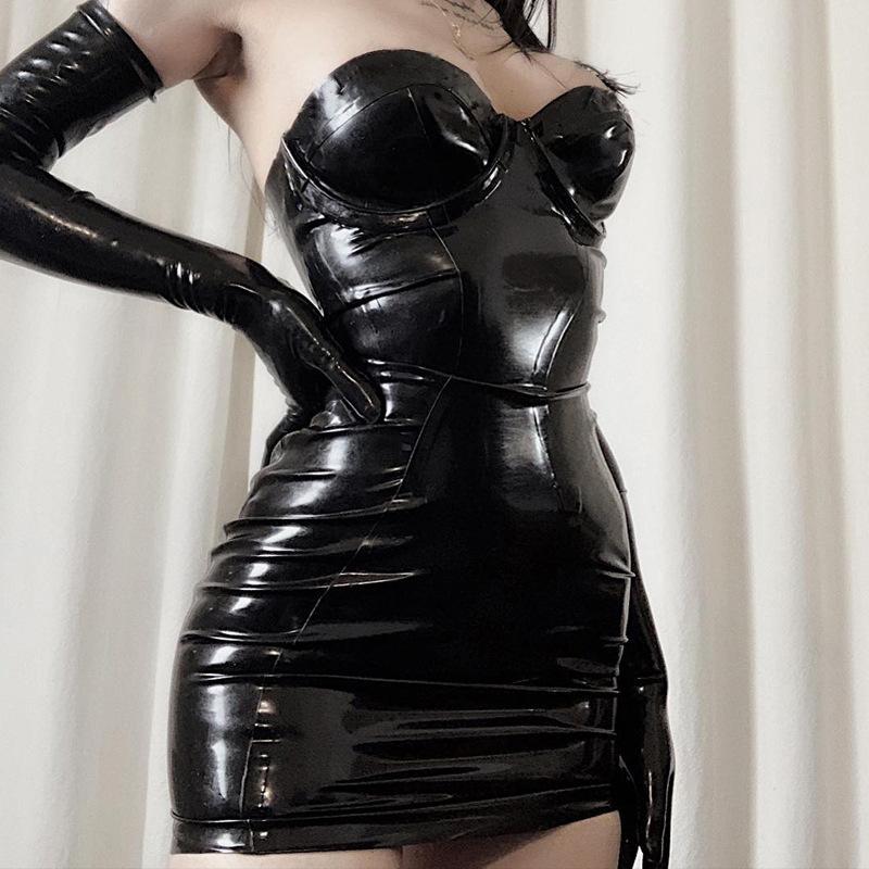 Black Women Strapless Zipper Dress Sexy Sleeveless Mini Dress Night Party Bodycon Clubwear Gothic Punk PU Vestido Lolita Tube Dress