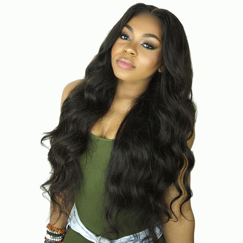 Zhifan 26inch Европа и Америка Горячая Синтетический волос Natural Look Объемная волна волос парик черный парик фронта шнурка