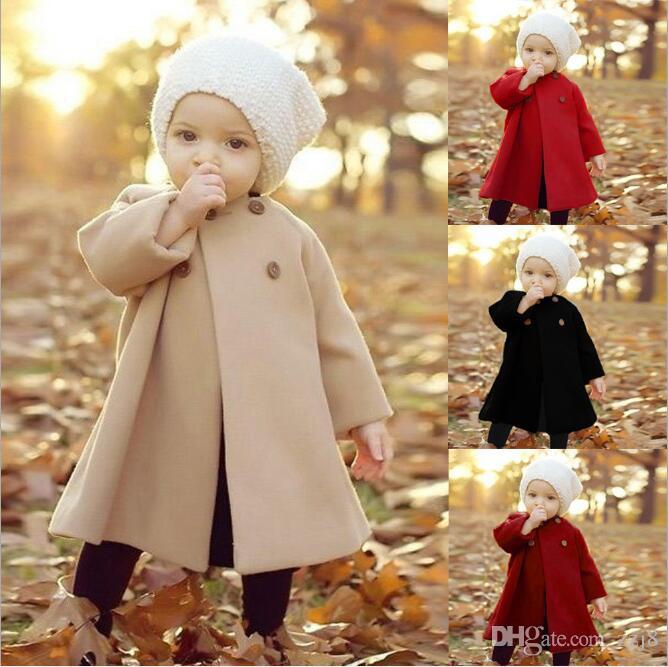 Baby-Herbst-Winter-Wollmäntel neue Europa Vereinigte Staaten Mantelart langärmeliger Kaschmir-Mantel für Mädchen Großverkauf