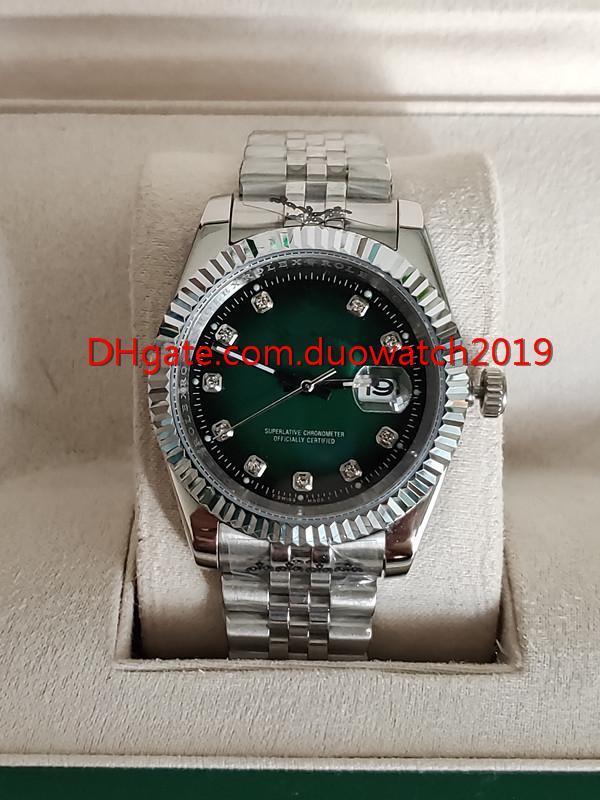 فاخرة ووتش 41 ملليمتر 126333 126334 التلقائي مشاهدة الماس ووتش أوراق الفولاذ الصلب الأخضر مرآة 2813 حركة الرجال الياقوت الساعات
