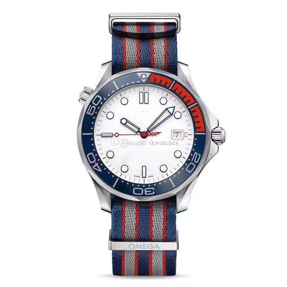 뜨거운 판매 기계식 시계 남자를위한 남성 시계는 스테인레스 스틸 케이스 화이트 페이스 나일론 손목 시계 (337) 시계