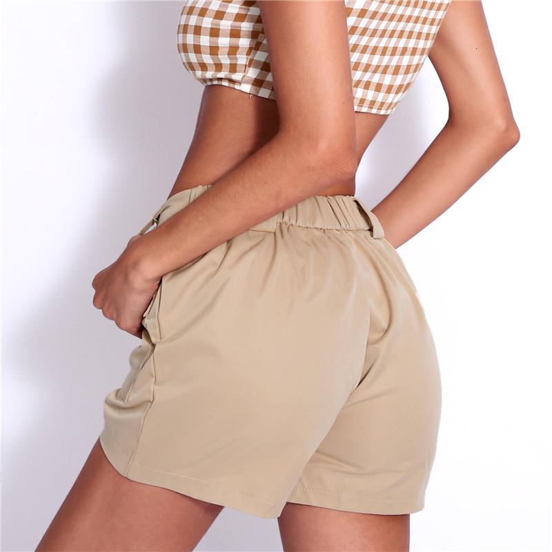 Mujer Pantalones cortos para mujer Pantalones cortos de alta Casual Pantalones cortos de Corea de las mujeres de cintura alta recta sólido de corta bolsillo con cremallera corta floja Verano 2019