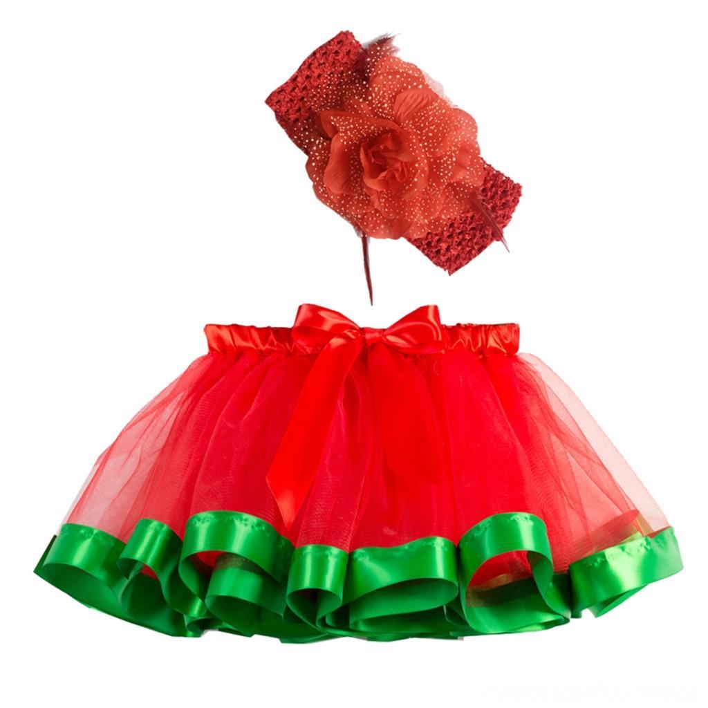 طفل الأحمر عيد الميلاد تنورة تنورة Skorts الطفل ملابس أطفال ثوب الكرة Pettiskrit توتو الزي الأطفال تول منزعج منفوش توتو تنورة جير