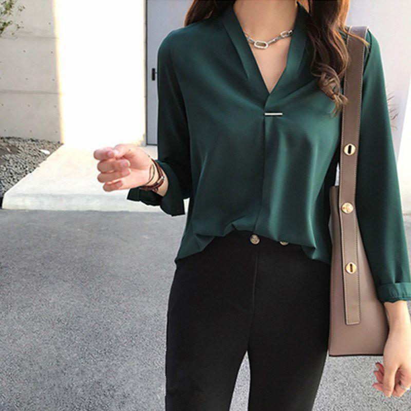 Kadın Bluz Gömlek Ofis Bayan Şifon Bluz Gömlek Yaz Uzun Kollu V Boyun Kadın Tops
