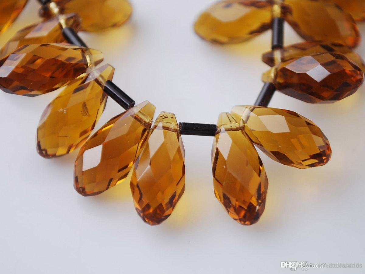 100pcs/lot TOPAZ Faceted Teardrop CLEAR Crystal Glass Loose Beads 6*12mm Jewelry DIY Loose Beads Hot sell Items