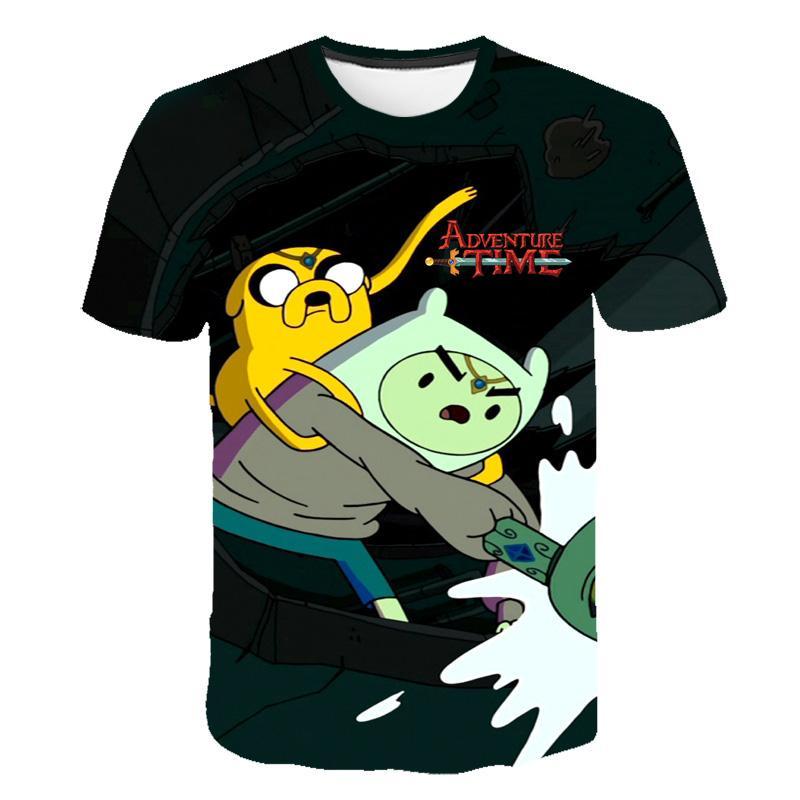 Летняя футболка Мужские и женские футболки Мультфильм Джейк Приключения Время Психоделический 3D цветной печати Top Finn футболка 6XL
