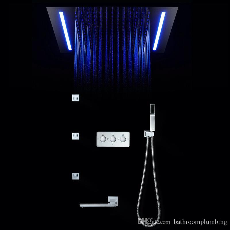16 farben duschpaneel regendusche fernbedienung led-licht massage spa jet drei griffe mischbatterie waschbecken wasserhahn set