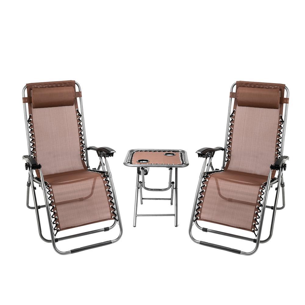 Waco 3pc нулевой гравитационный стул набор, открытый патио-салон кресла кресла, с портативным столом, держатель чашки, для балконных бассейнов садовые складные наборы (коричневые)