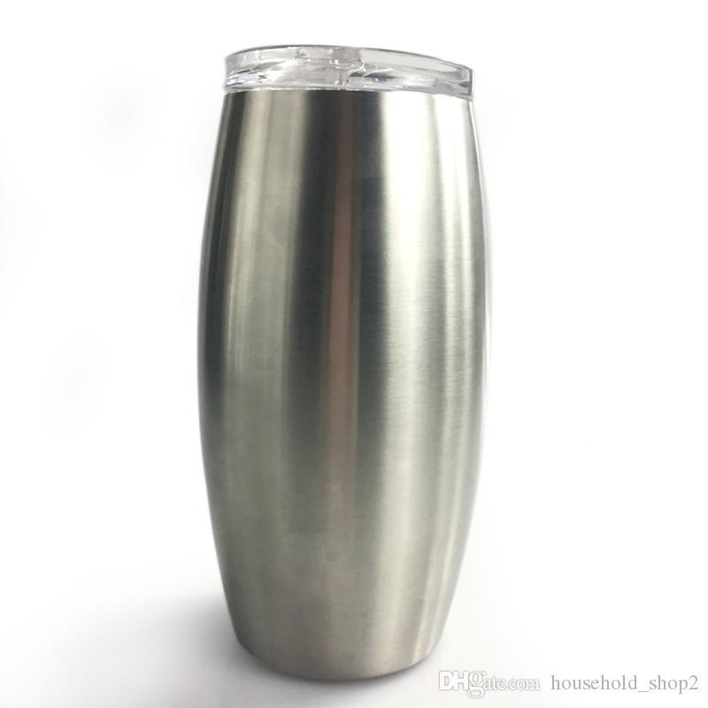 25oz الفولاذ المقاوم للصدأ كؤوس النبيذ Stemless النبيذ الزجاج البيض الكؤوس مع غطاء الفولاذ المقاوم للصدأ البهلوان شاتيربروف فراغ Stemless كأس A05