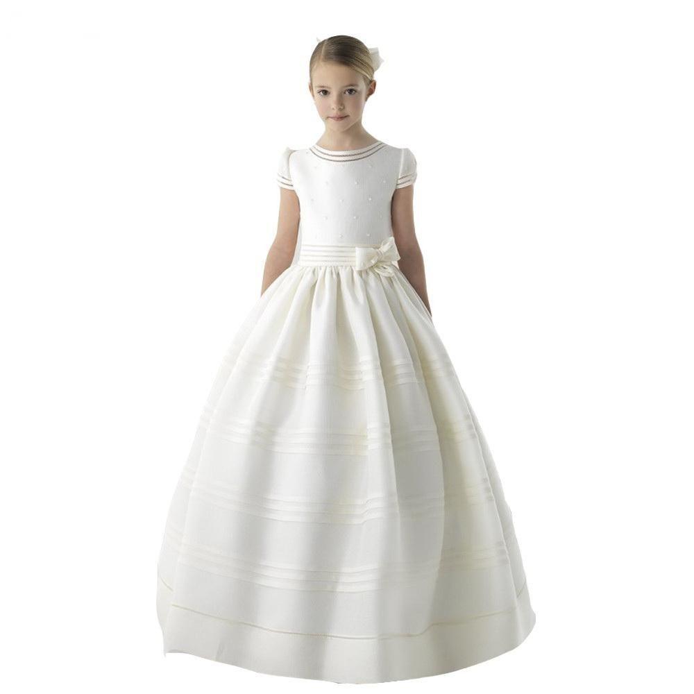 2020 Novo Marfim Branco Cetim Chegada Vestido Da Menina de Flor Vestidos de Primeira Comunhão Para Meninas Cinto de Manga Curta Com Flores Personalizadas