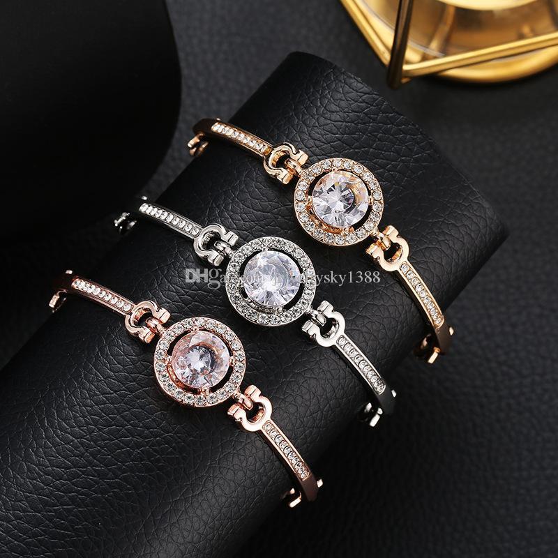 3 couleurs Charm Boutique Bracelets en alliage Bangle strass cristal de luxe Bracelet Femmes Mode Bijoux Mariage cadeau