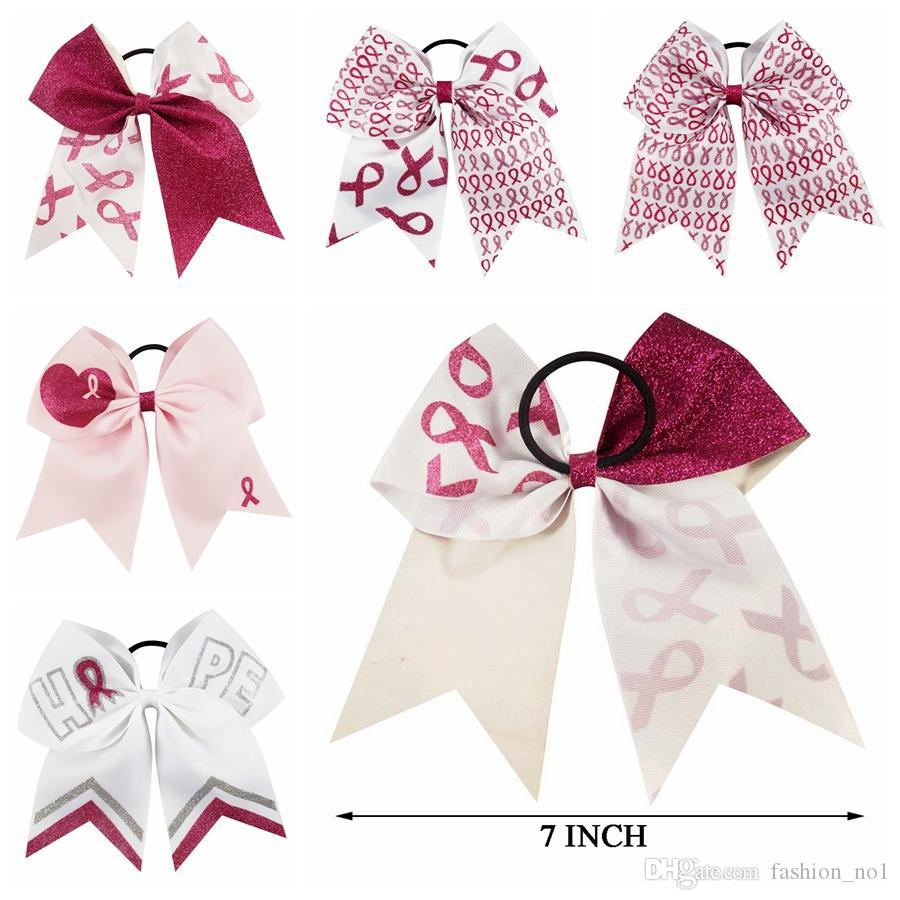 Kids 7 Inch Bowknot Hairband Patchwork Cheer Bows Breast Cancer Awareness Glitter Ribbon Elastic Pony Tails Holder LJJ_TA1472