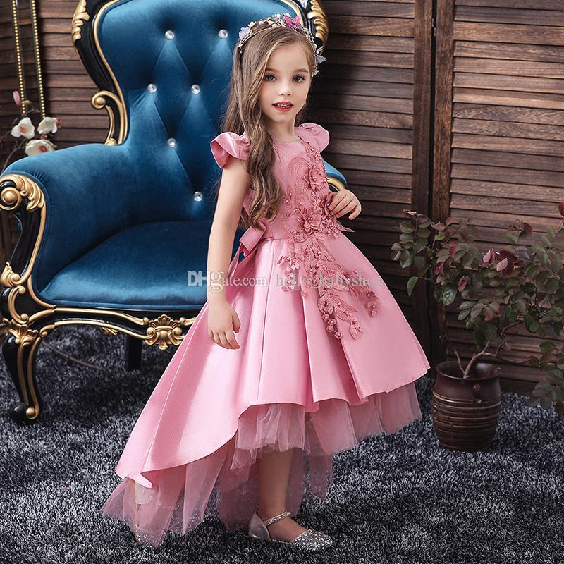 NEW Princess Kids Baby Girls Lace Flower Tulle Party Pageant Dresses Size 3-8Y