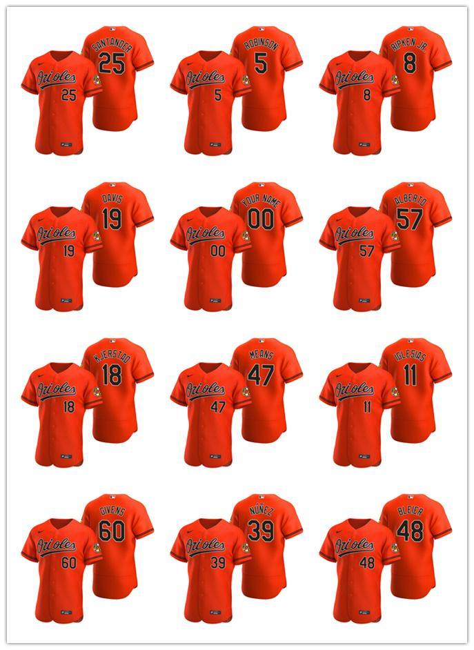 BaltimoreOriolesHombres Mujeres Jóvenes 19 Chris Davis 16 Trey Mancini naranja auténtica béisbol alternativo Jersey
