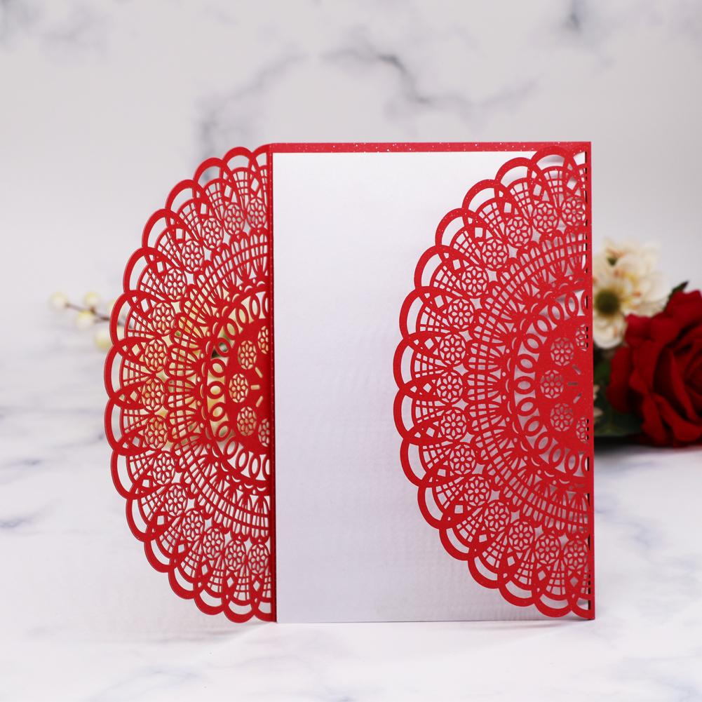 15pcs Hollow Laser Cut Flower Patterns Wedding Invitation Card With White Envelope For Birthday Party Supplies Hot Sale