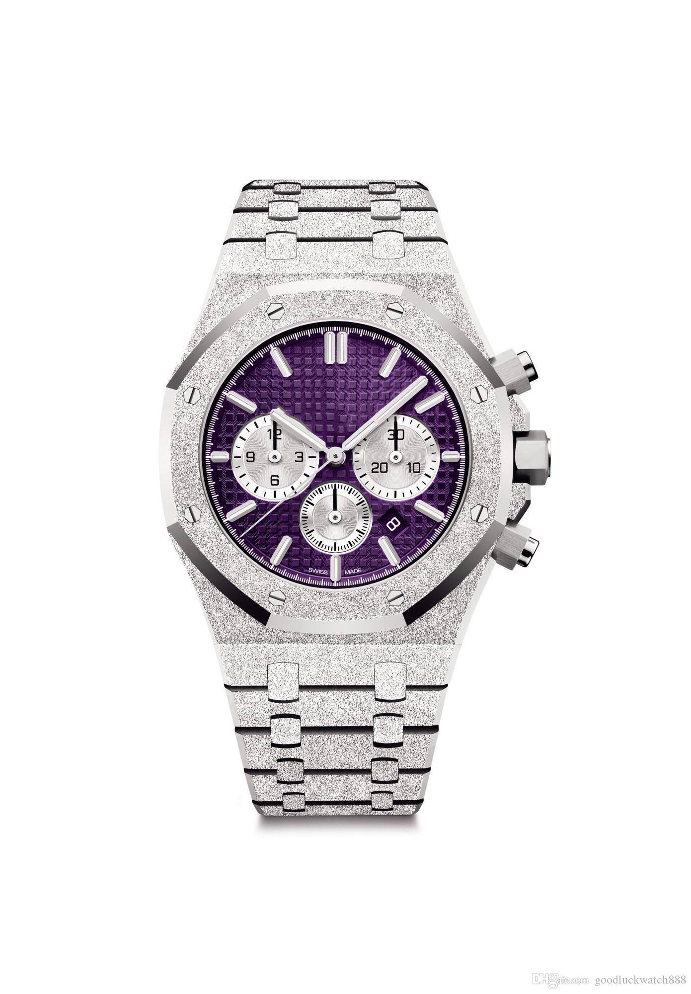 Designer montres série chêne royal 26331 quartz 41mm montres traitement de l'or 18 k montres hommes de luxe de platine