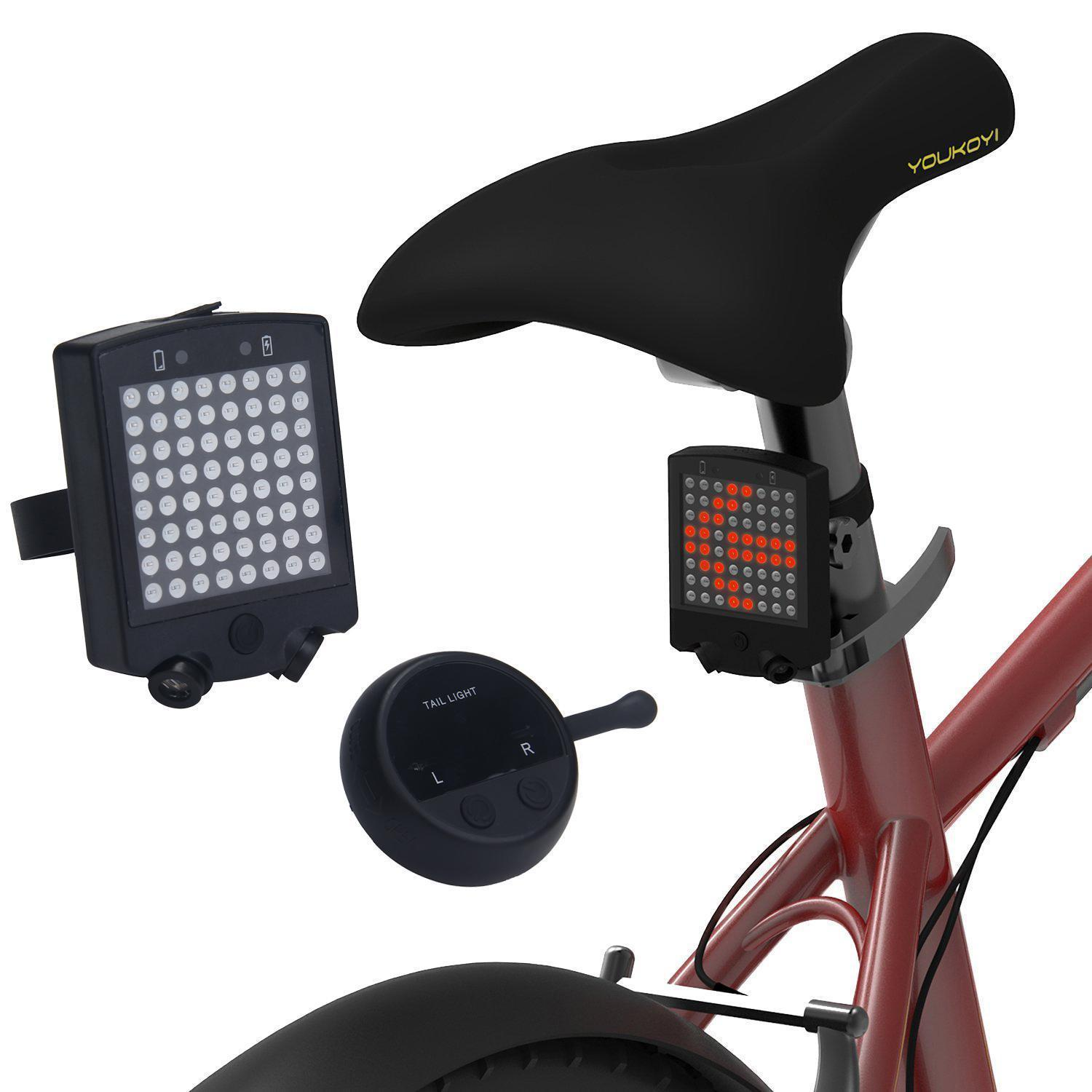 Lighting Cycling Bike Remote Control Turning Light USB Rechargeable Reat Laser Safety Warning Lamp